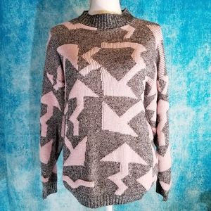 VTG 80s Squigly Arrow Pink and Grey Sweater